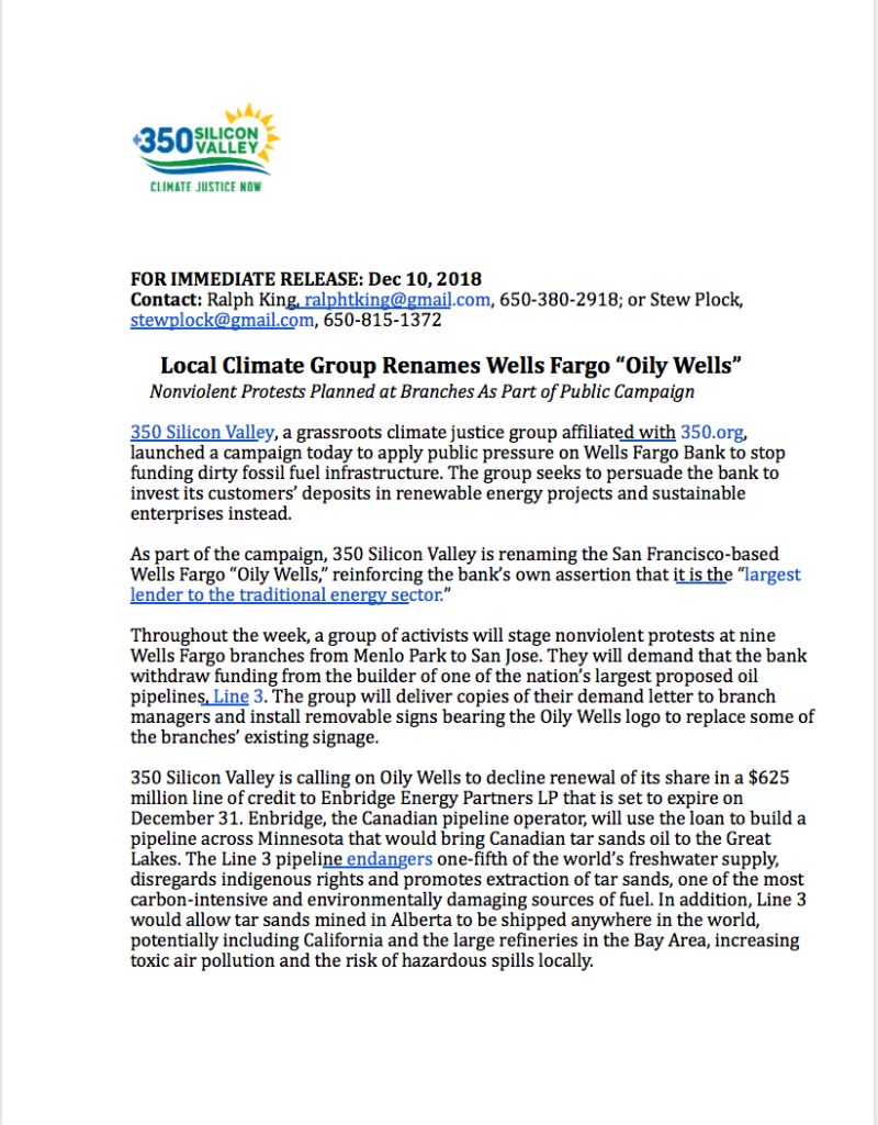 "Press Release: Local Climate Group Renames Wells Fargo ""Oily Wells"""
