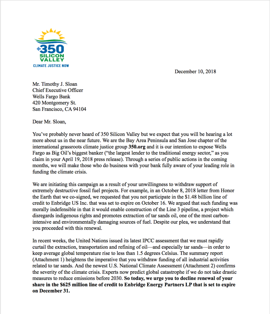 Letter to Tim Sloan, Wells Fargo CEO