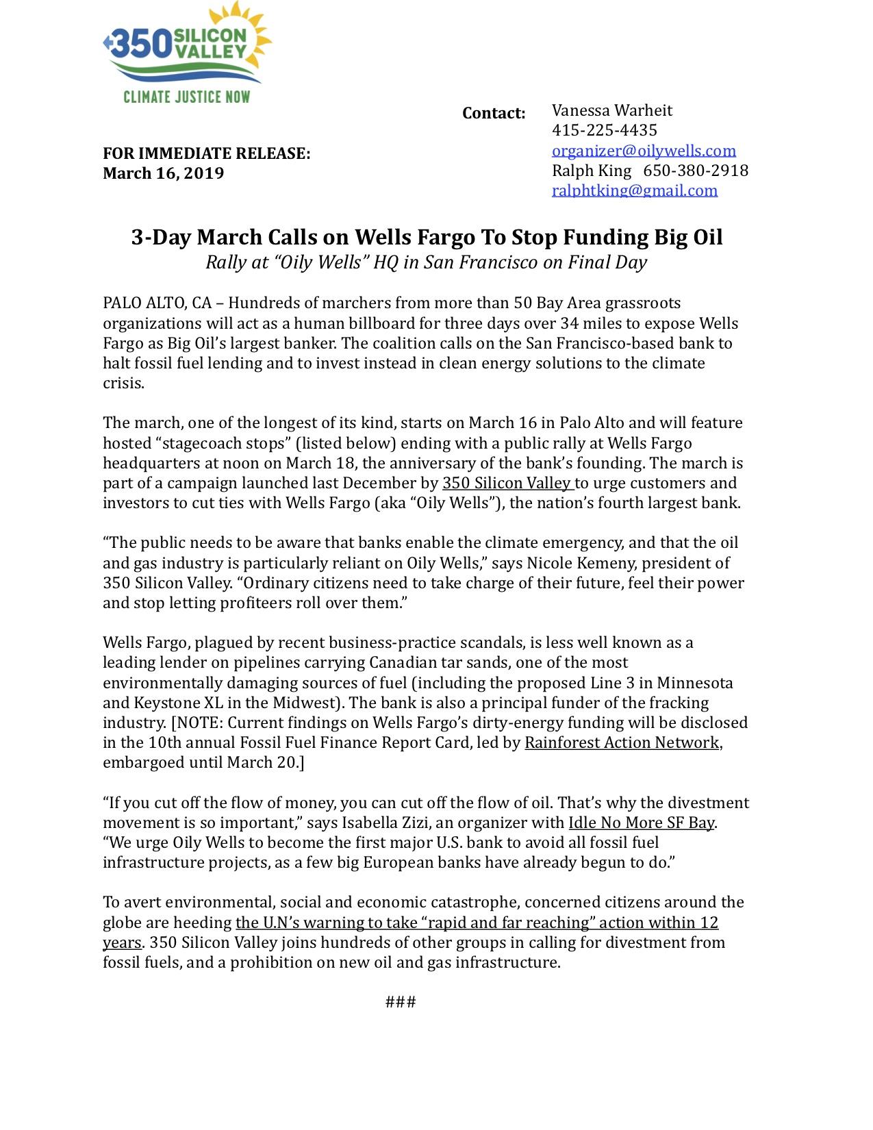 March 16 Press Release